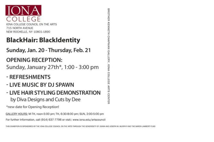 Nastassia Davis presents self-portrait artwork with other visual artist. Iona College NY. Jan 20 - Feb 21, 2012.