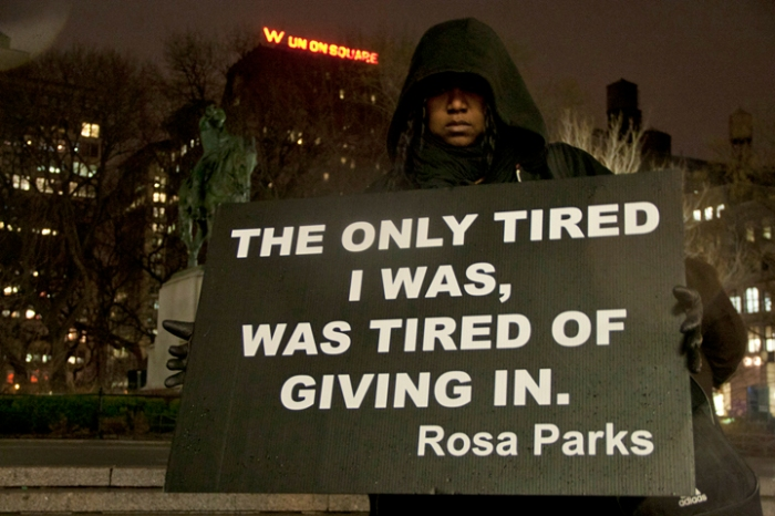 Supporter wearing hoodie for Trayvon Martin at the year later vigil, Tuesday, February 26, 2013.