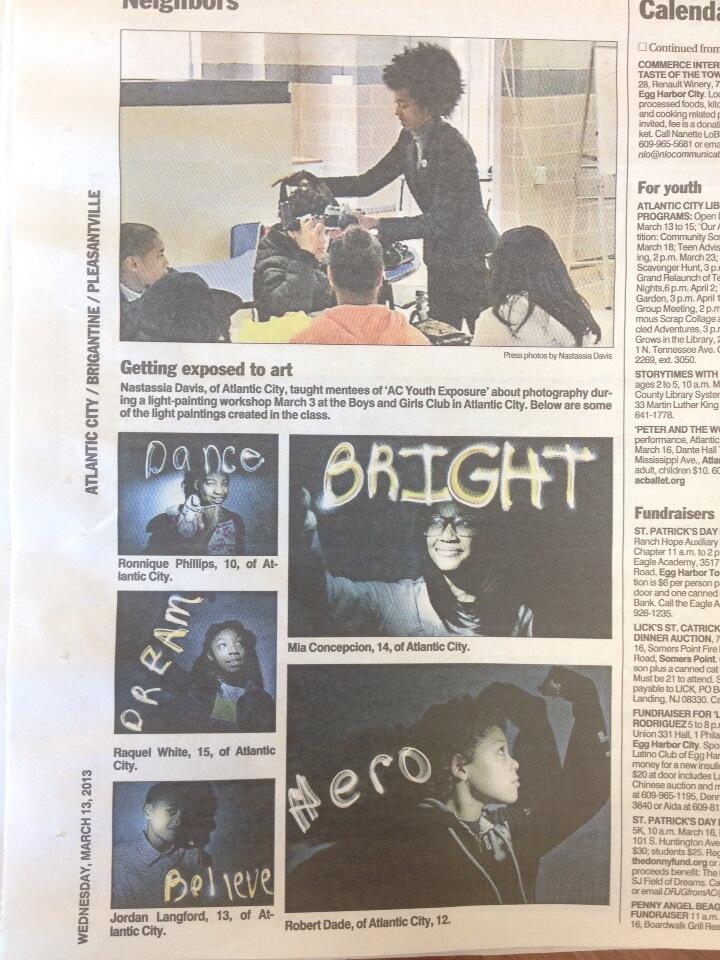 N Davis light workshop at Boys & Girls Club published in AC PRESS.