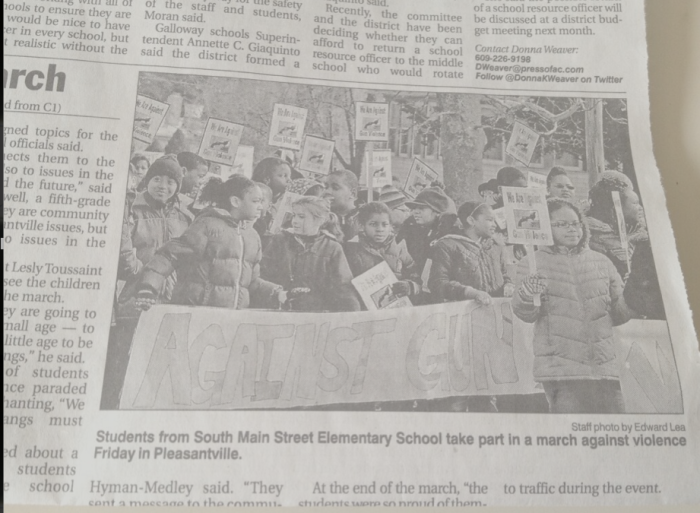 Children protesting against gun violence in Pleasantville, NJ. Published photo by Ed Lee in AC PRESS.